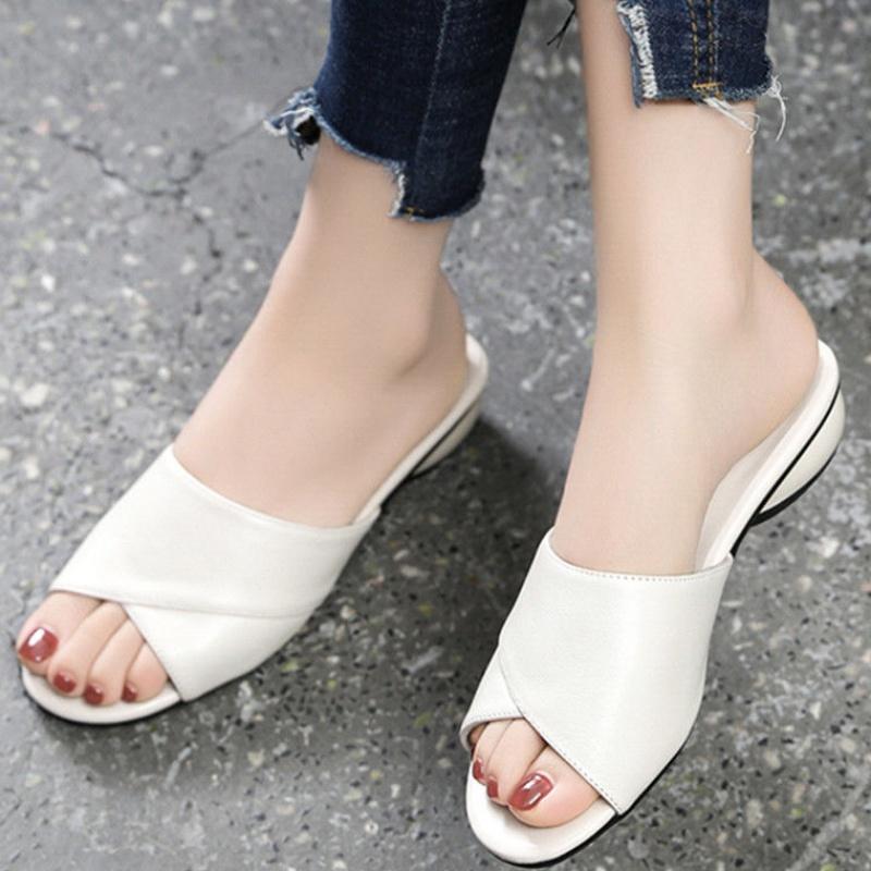 女士凉拖鞋女外穿学生韩版女拖鞋新款夏外穿时尚女凉鞋中跟半拖07