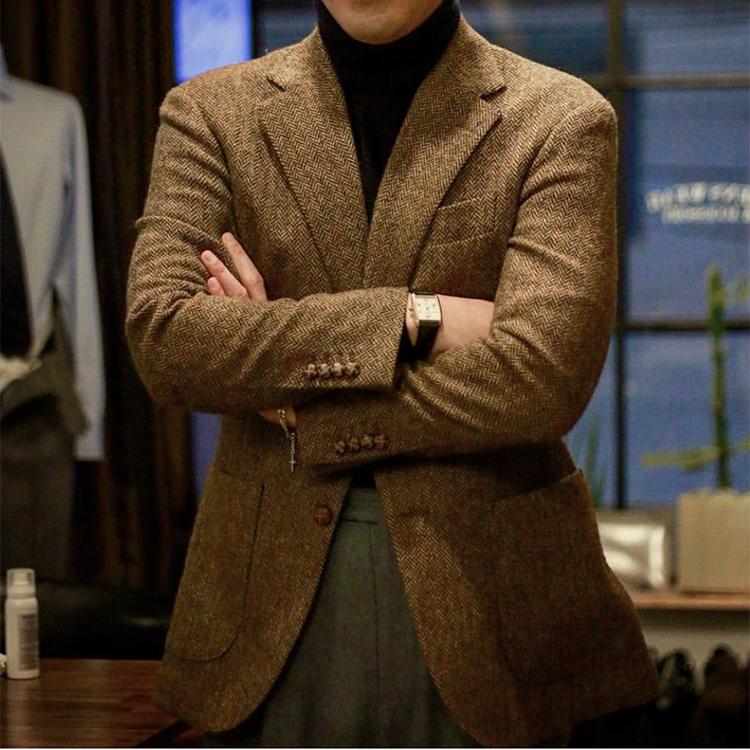 复古英伦粗花呢男毛呢外套 棕色羊毛tweed西服人字纹秋冬修身西装