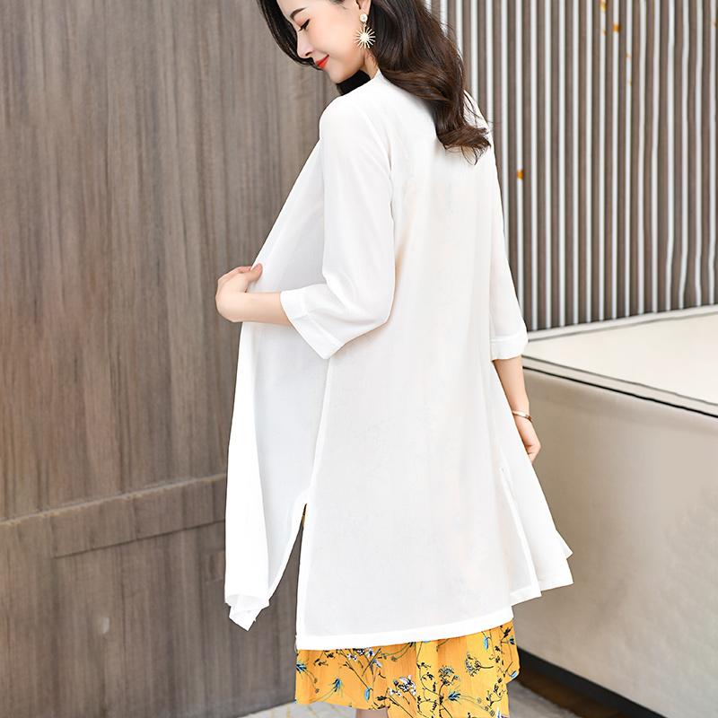 防晒披肩外搭女2020夏季新款中长款七分袖雪纺空调衫防晒衣薄开衫图片