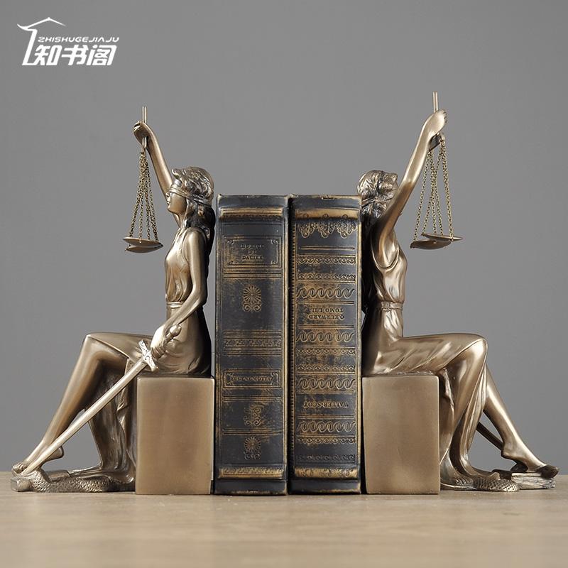 知书阁欧式家居装饰品正义女神书档书立摆件律师礼物人物雕塑艺术