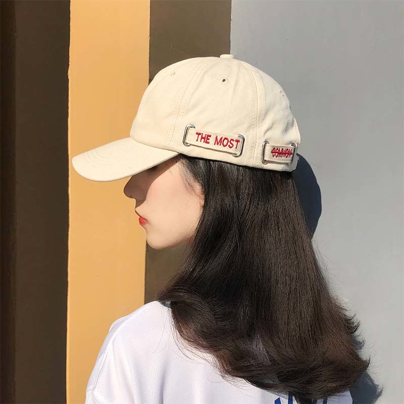Hats Female Korean version of student baseball cap fashion sunscreen sunshade hat Street couples embroidered duck tongue cap male