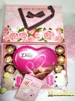 包邮七夕情人节生日礼物正品费列罗德芙巧克力情人节公仔抽屉礼盒