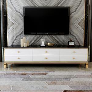 轻奢后现代茶几电视柜组合港式客厅简约现代小户型不锈钢烤漆地柜