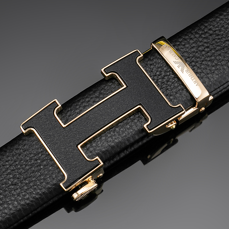 Tiffany Armani belt, fashionable young man, Korean version, versatile personality, h-button, automatic buckle, leather, pure cow leather belt