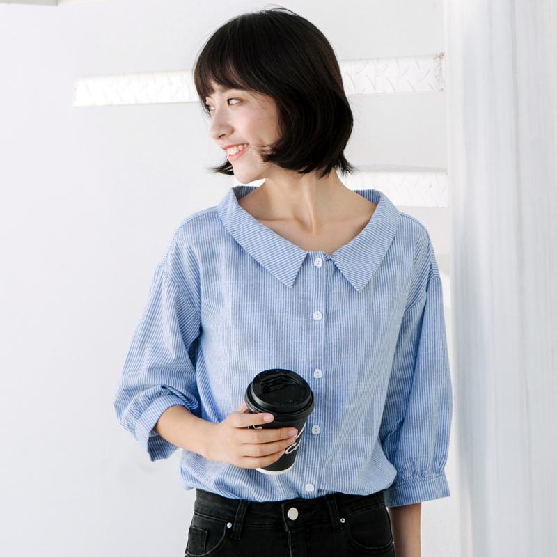谧斯超火的cec衬衫女上衣夏蓝色条纹七分袖衬衣夏灯笼袖娃娃衫女
