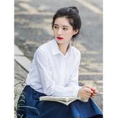 休闲白色衬衣 新款 宽松学生上衣2019早秋季 防晒衫 白衬衫 长袖 女韩版