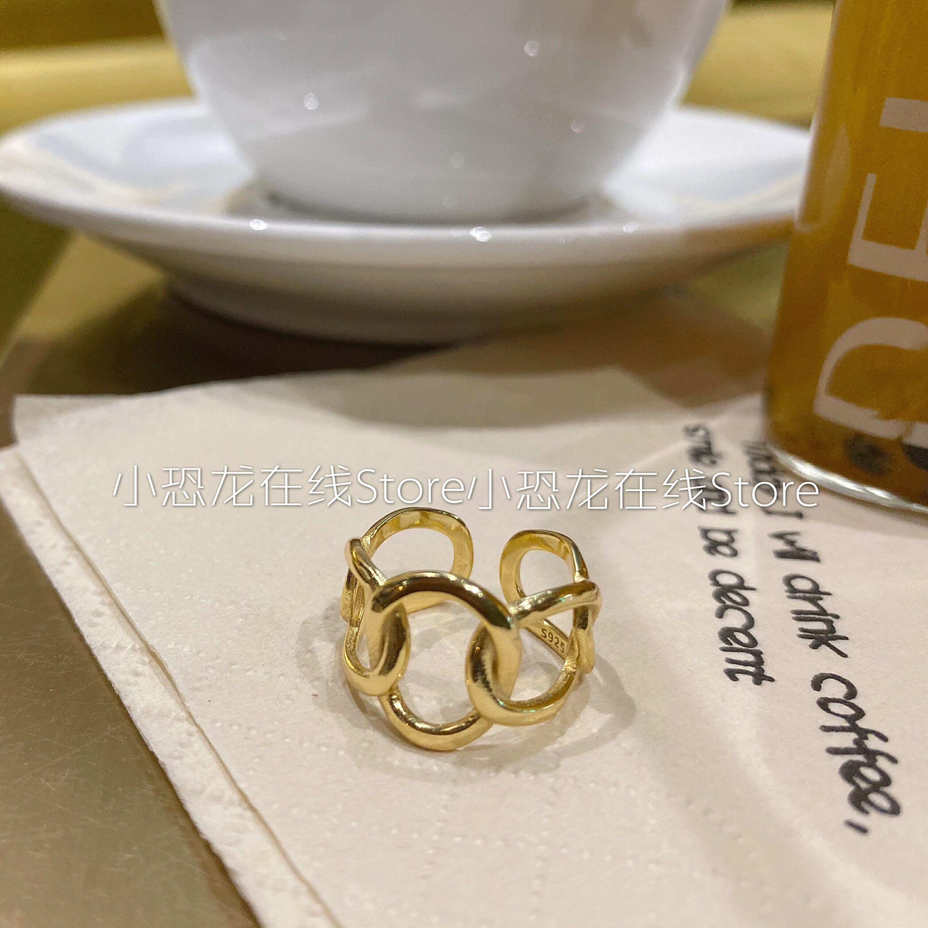 韩国东大门同款925纯银镂空戒指女镀金个性简约锁链食指指环包邮