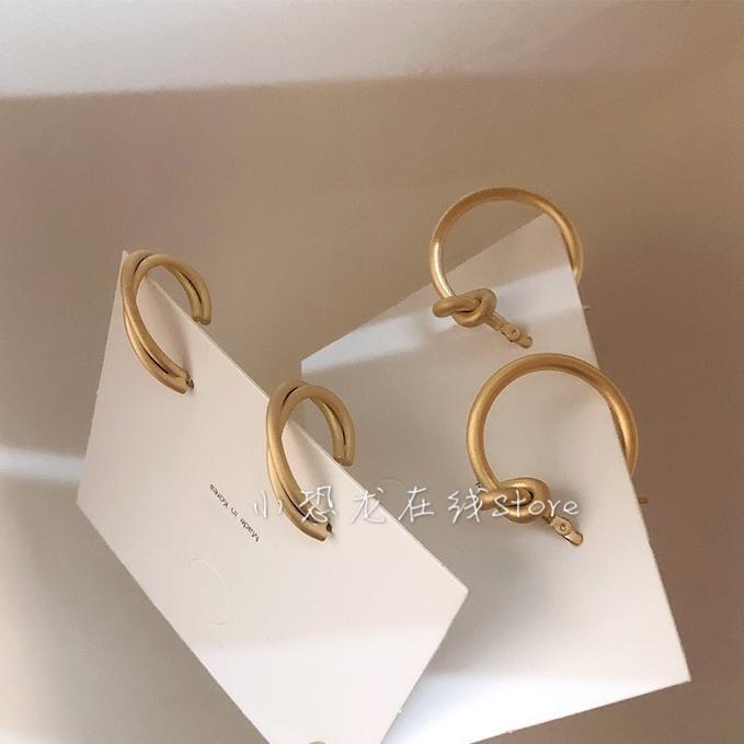 韩国东大门同款925银针耳环女冷淡风小众极简哑光金属打节耳圈耳