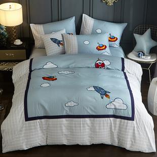 儿童床单四件套男孩纯棉卡通被套1.2米1.5床笠式三件套蓝色地中海价格