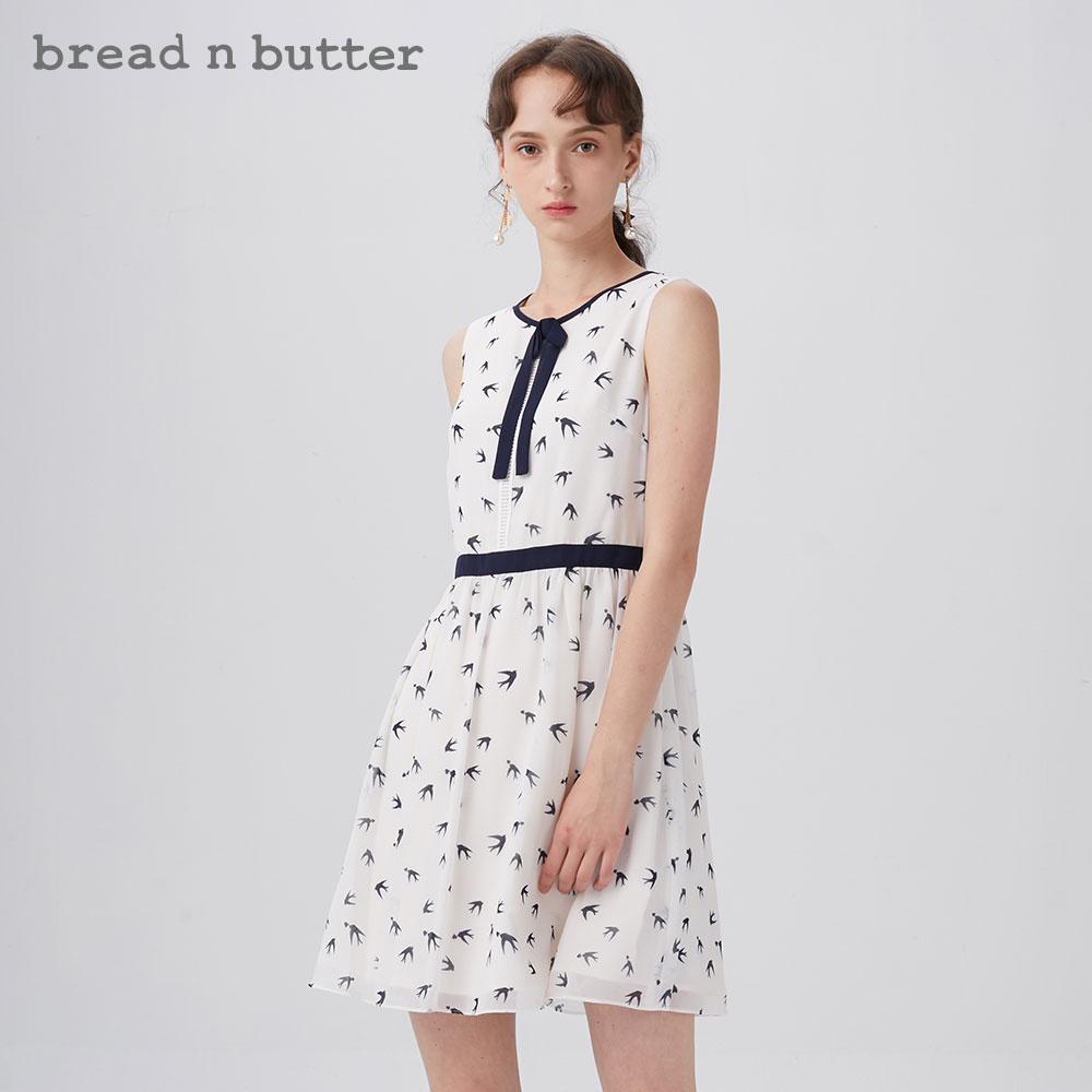 【潮人节】bread n butter圆领燕子印花中裙收腰无袖甜美连衣裙女