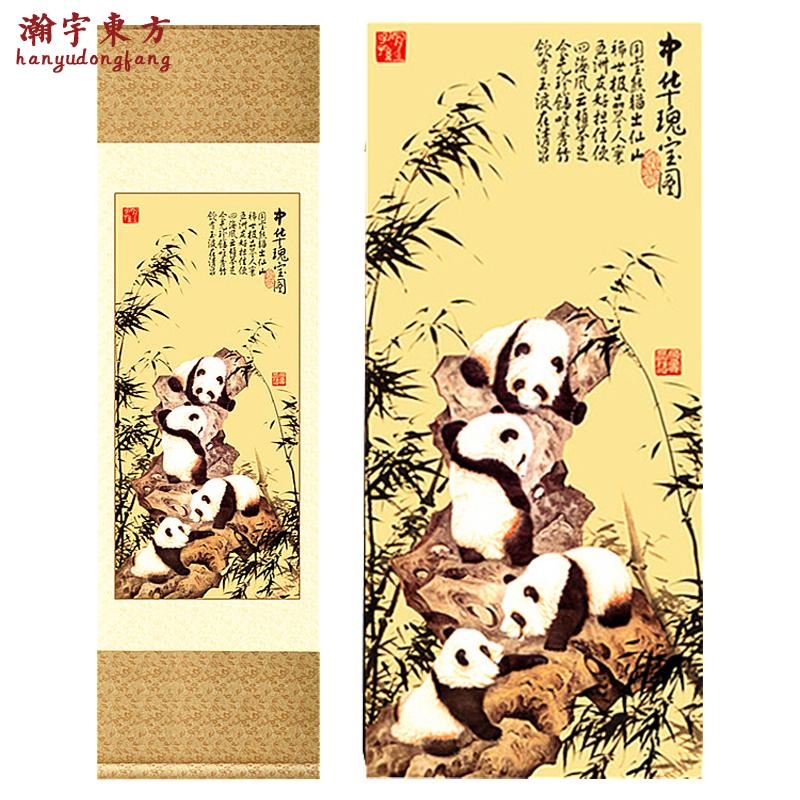 出国送外国人礼品丝绸卷轴画四川熊猫送老外的礼物中国传统工艺品