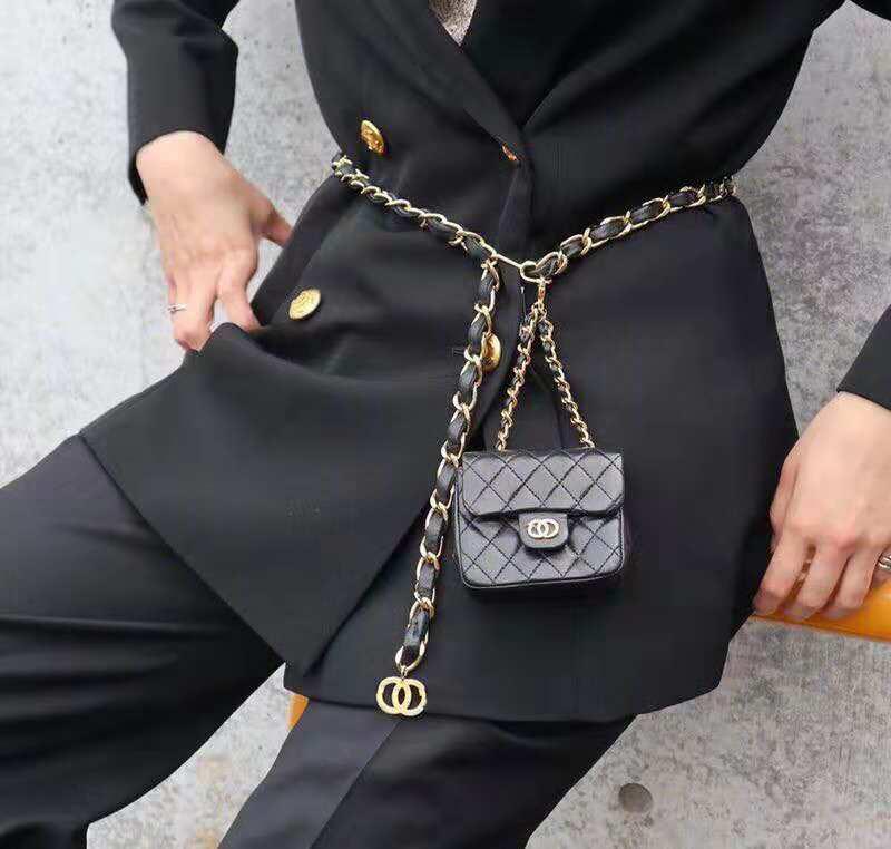 2019新款小香链条腰包斜背包小零钱包装饰挂包百搭小方包儿迷你包
