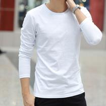 男士长袖T恤潮流秋装衣服纯色纯棉圆领白体秋衣宽松打底衫短袖