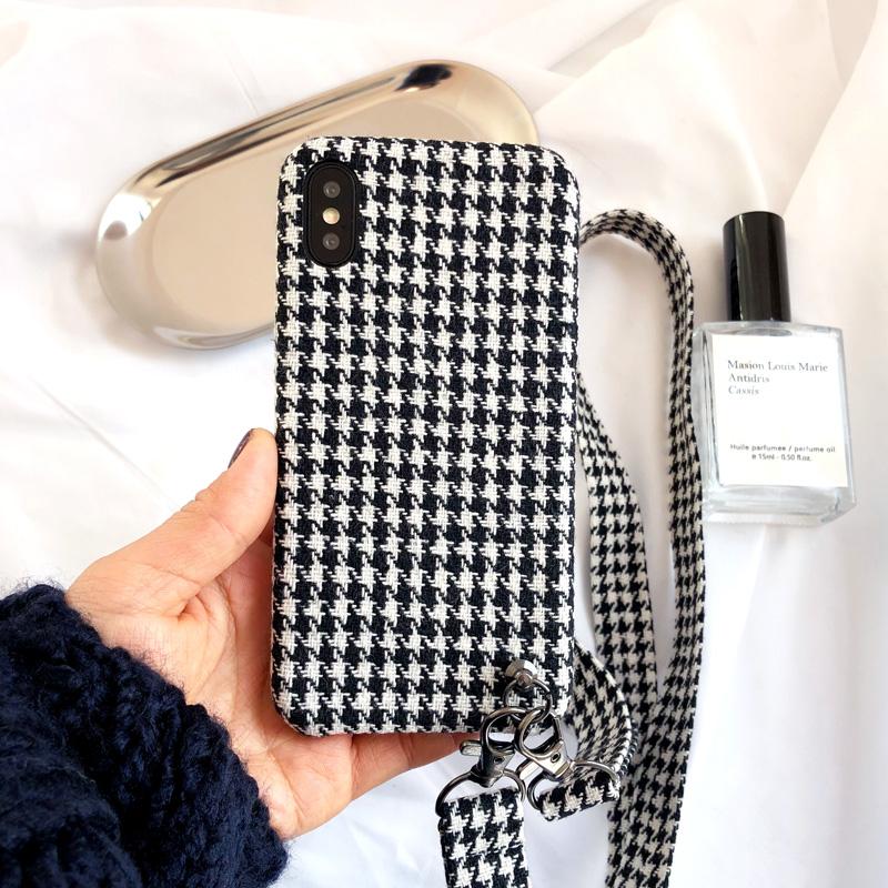千鸟格时尚iphone8手机壳挂绳X绒布苹果7plus毛绒软套6s创意女款