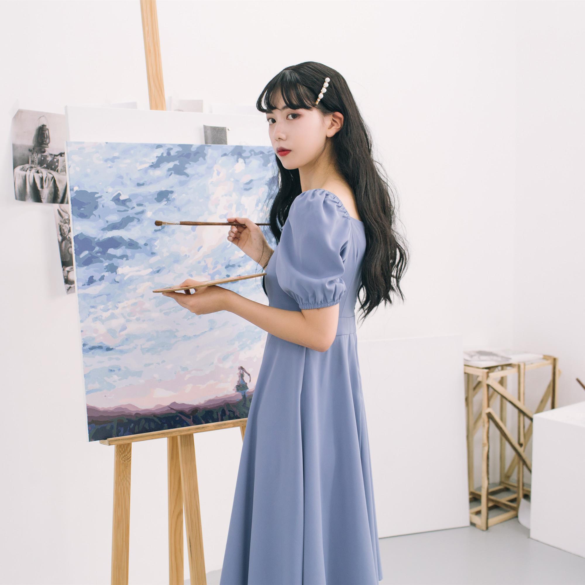 北岛家 很仙法国小众维多利亚桔梗小个子智熏法式复古蓝色连衣裙