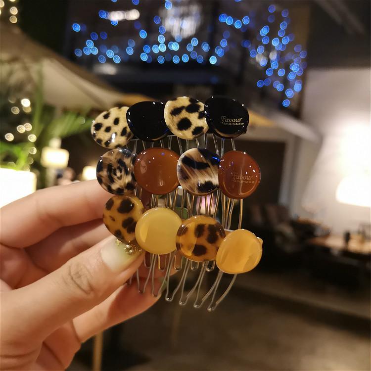 风之彩豹纹发梳插梳发卡发夹刘海夹发插刘海梳头饰发饰韩国女卡子