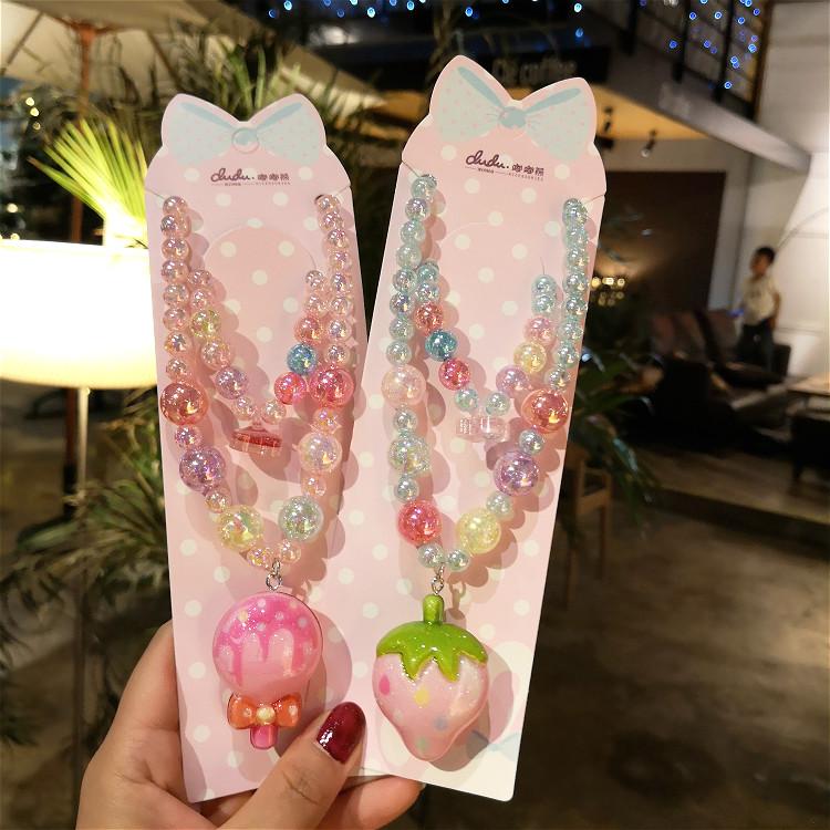 韩版闪灯款手链儿童项链公主生日礼物卡通可爱百搭宝宝首饰品套装