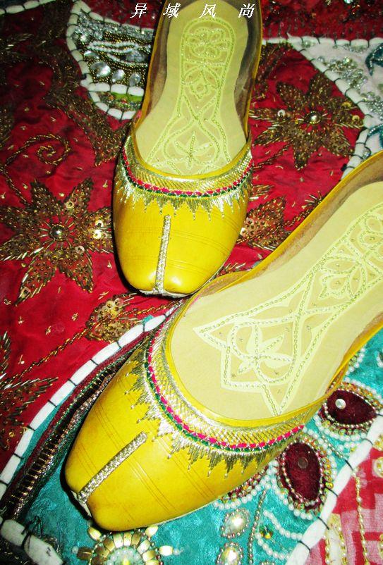 纯皮系列绣花鞋女鞋鞋子  牛皮*印巴基斯坦手工牛皮鞋中跟鞋