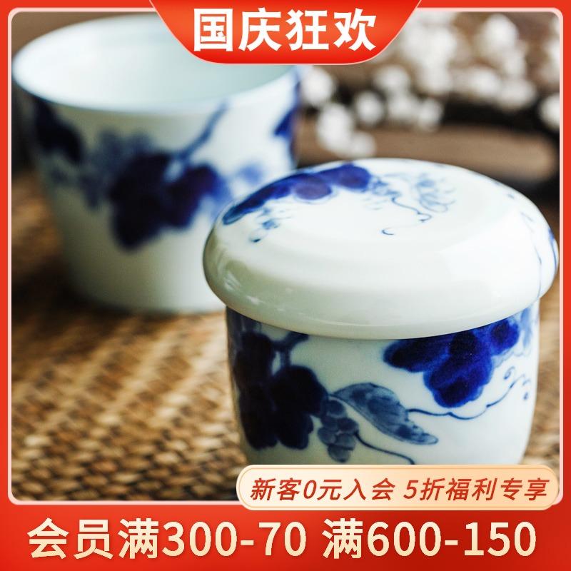 日本进口釉下彩汤盅日式炖盅陶瓷盅带盖创意茶盅蒸蛋盅酒盅甜品盅