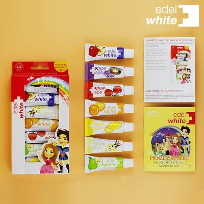 瑞士进口儿童牙膏可吞咽1-2-3-6岁含氟防蛀牙窝沟小孩牙膏牙刷7支