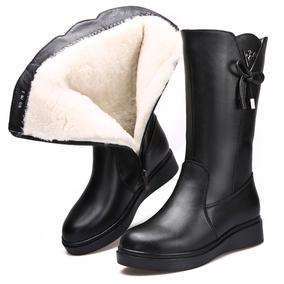 2019冬季新款真皮加绒羊毛靴女靴