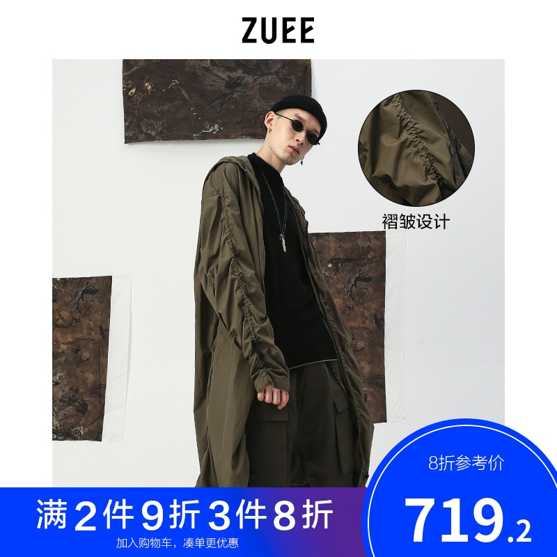 ZUEE原创设计男装李现同款军绿个性弹力装饰长款宽松连帽机能风衣(非品牌)