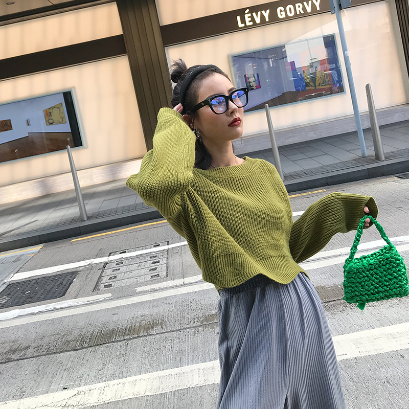 Black skin sister short sweater women wear loose Pullover round neck fashion green top in autumn and winter Han Lu same style