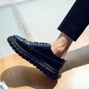 秋季布洛克皮鞋男韩版潮流百搭学生鞋子男潮鞋青少年英伦亮皮男鞋