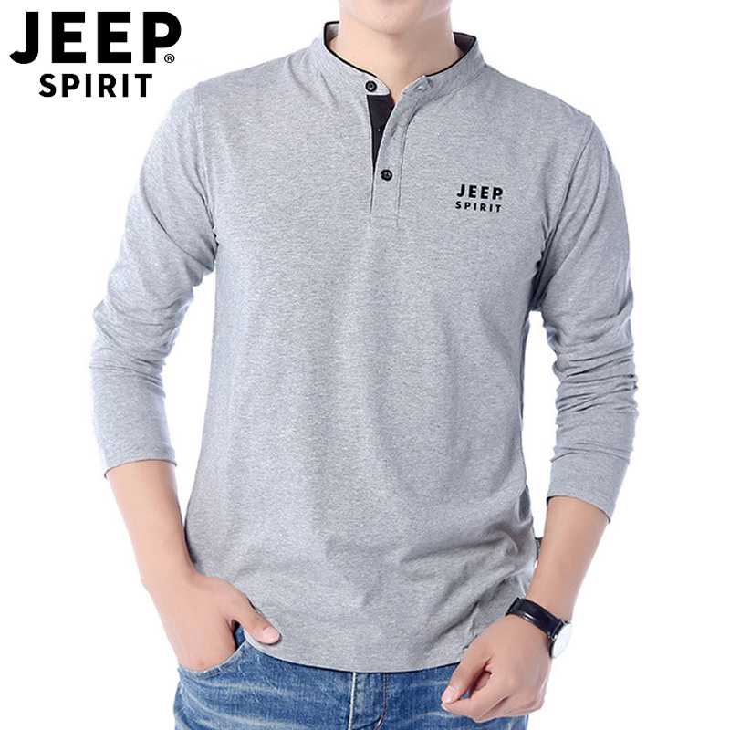 恤吉普卫衣t领男式长袖V旗店官方正品春季新款纯色纯棉薄款jeep
