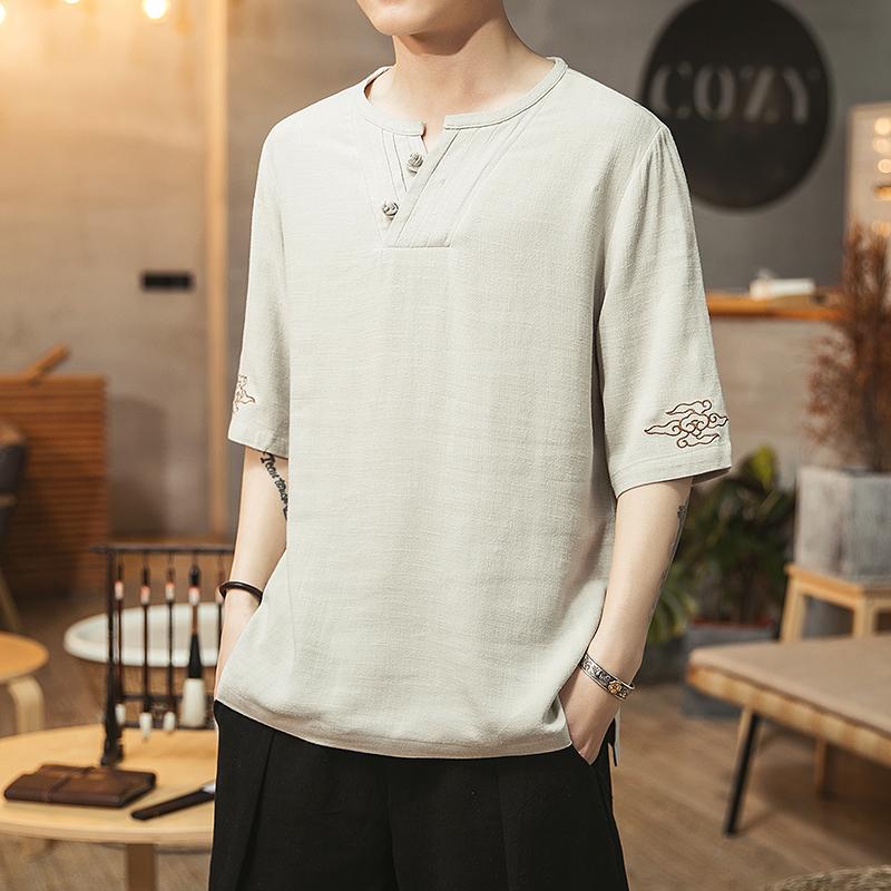 2019中国风棉麻刺绣短袖T恤大码男QT4026—TX105—P55,限价78