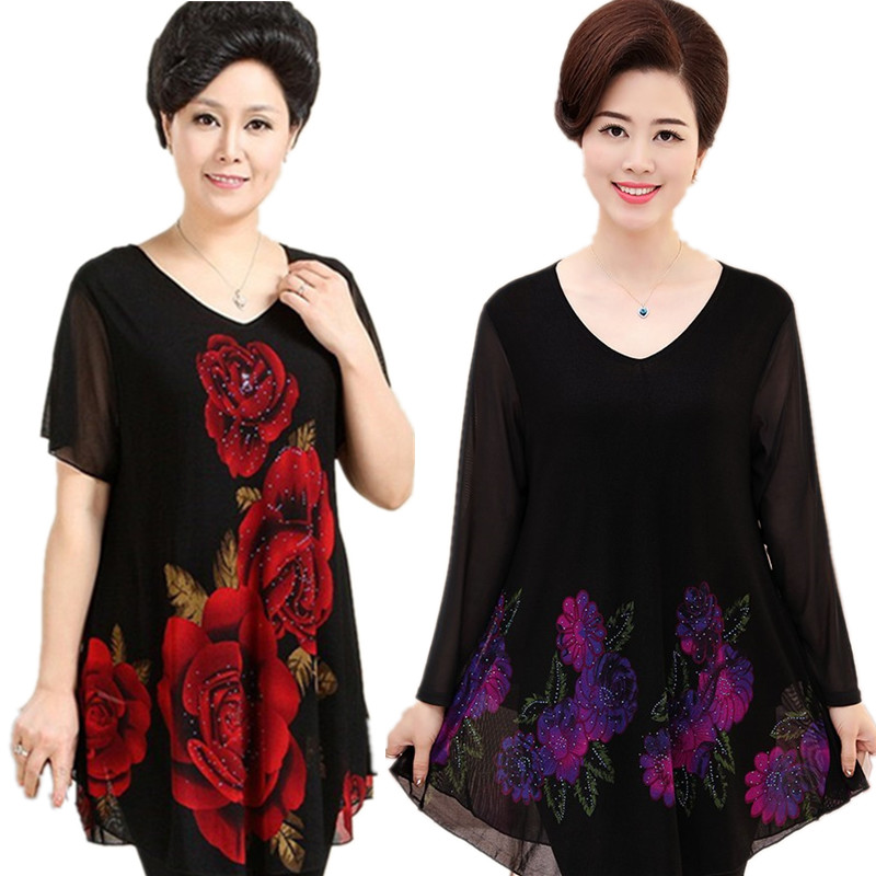 Middle aged and old womens clothing fattening plus size spring bottomed top mothers summer short sleeve T-shirt 200kg thin