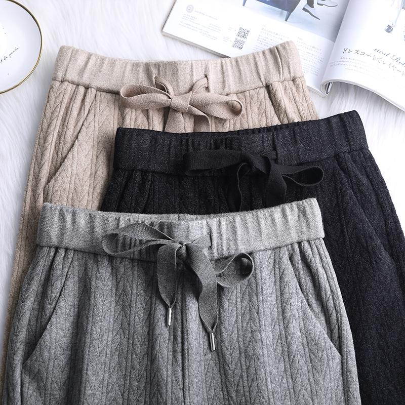 2019秋冬羊绒阔腿裤女针织裤子灰色宽松垂坠感高腰加厚拖地直筒裤