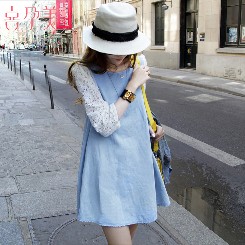 New pregnant women summer dress loose A-line long top denim lace stitching fashion mom