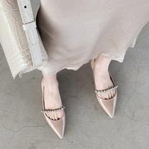 平底鞋仙女风尖头水钻低跟时装凉鞋包头半拖粗跟单鞋夏季配裙子