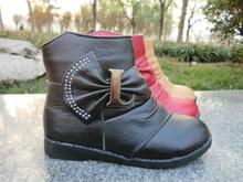 A clearance package mail quality goods longfeng children's shoes Soft cowhide leather cotton shoes of the girls all cowhide girls short boots children's boots