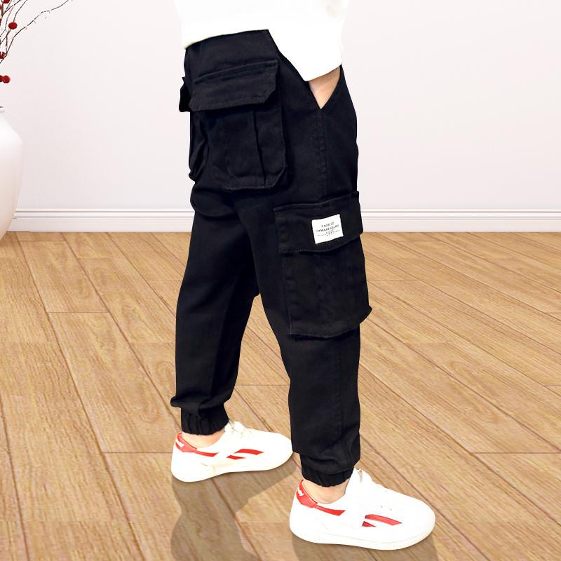 秋季工装裤男童裤子加绒加厚儿童棉裤2020新款中大童哈伦裤休闲裤