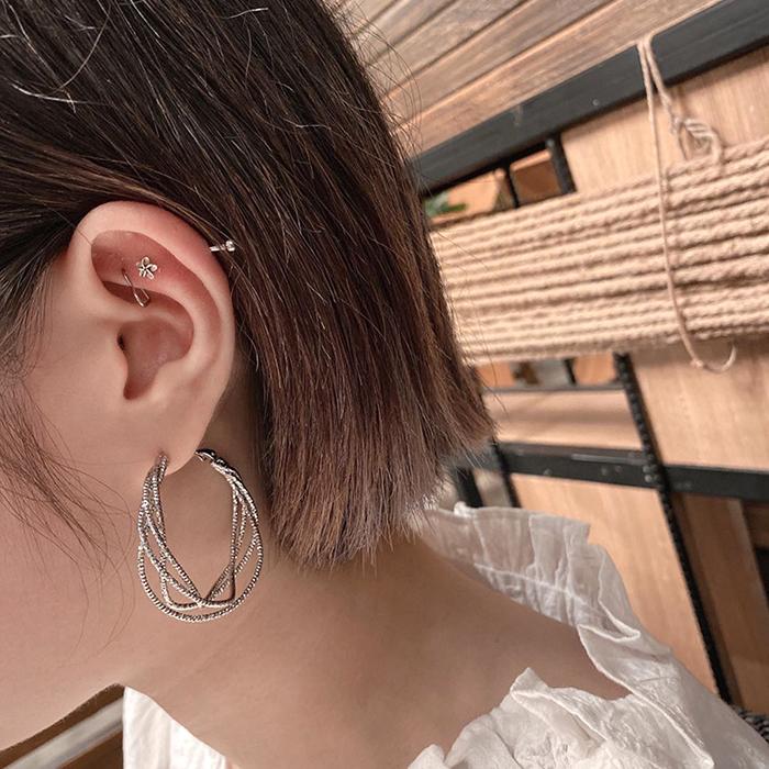 Euro2020 summer hot sale South Korea East Gate fashionable metal earrings earrings net red face thin Earrings