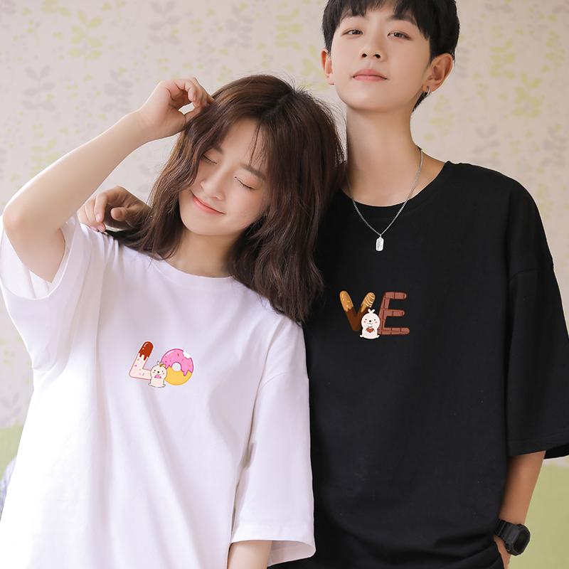 ATee原创不一样的情侣装Love男女2020新款夏可爱设计黑白半袖T恤