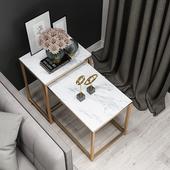 方形小边几铁艺茶几床头桌沙发边柜轻奢角几大理石边桌现代ins