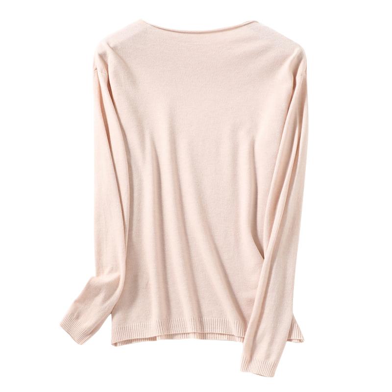 秋冬新款羊毛衫女卷边圆领V领短款大码毛衣修身套头针织打底衫
