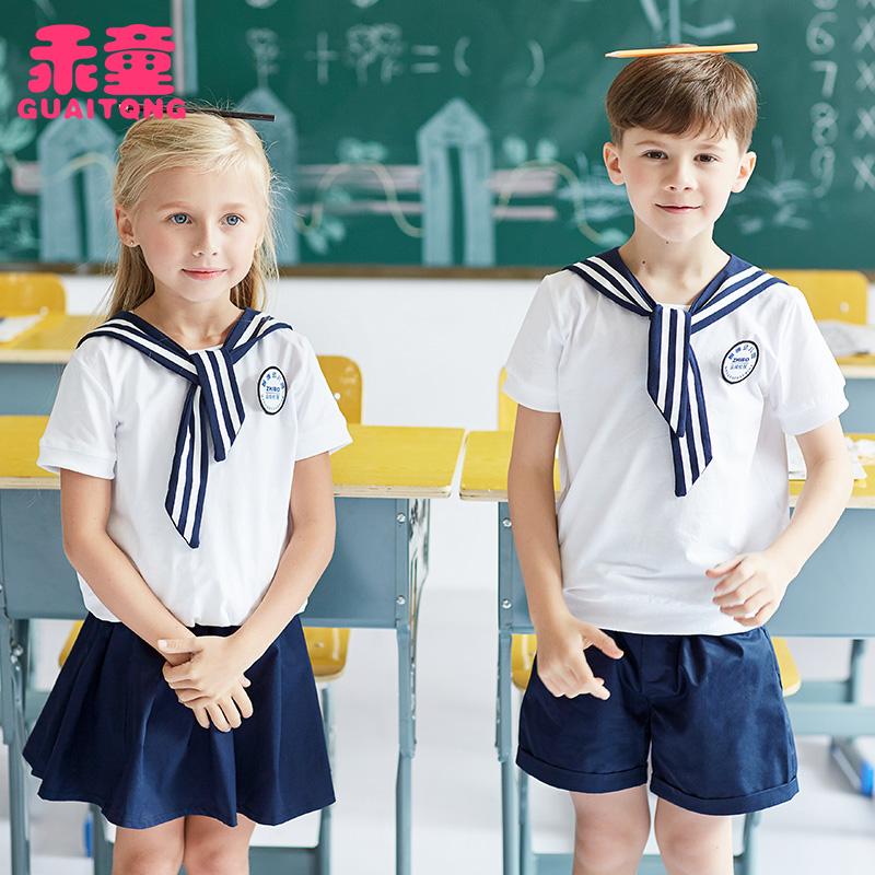 幼��@�@服夏�b短袖套�b�棉�和�校服定制中小�W生班服英���W院�L