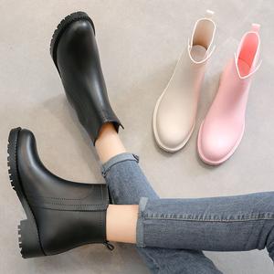 雨鞋女柔软套鞋加厚耐磨胶鞋夏季时尚外穿短筒雨靴防水防滑水鞋女