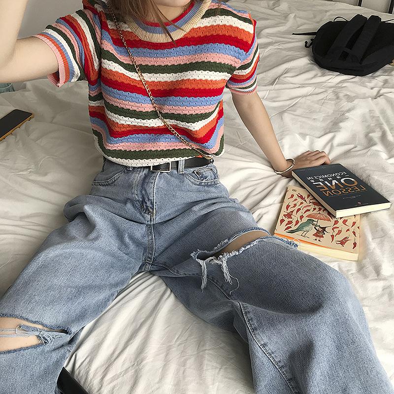 泫雅风上衣彩色彩虹条纹短袖针织衫圆领打底显瘦夏季2019