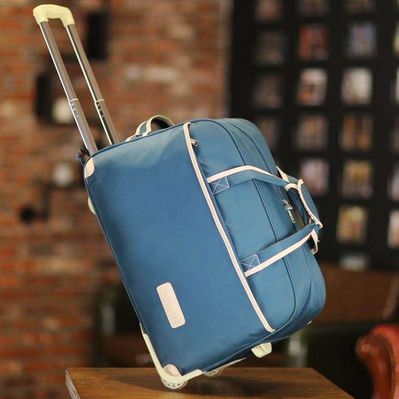 Small travel double shoulder Trolley Bag Backpack pulley dual purpose waterproof drag mens suitcase light clothing travel bag