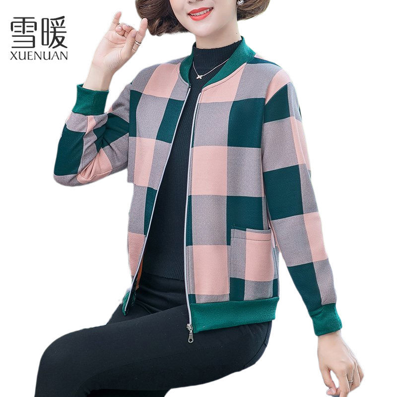 Snow warm autumn plaid jacket middle-aged mother womens printed foreign style loose large casual sports coat