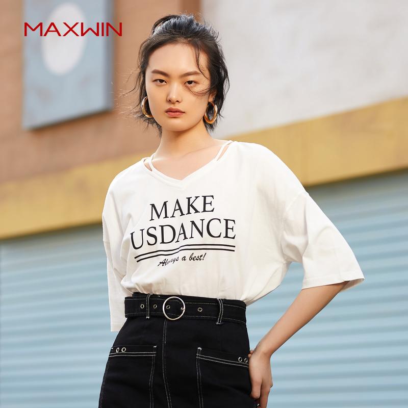maxwin马威T恤女春季V领纯棉简约百搭时尚显瘦宽松短袖T恤女春夏