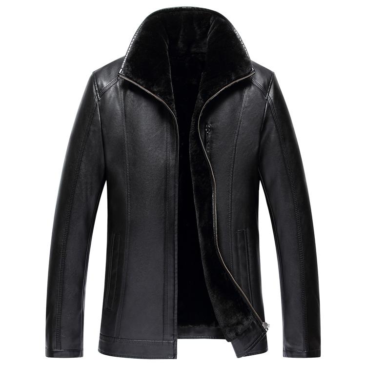 2017 новый хайнинг целая шкура кожаная одежда краткое модель случайный молодежь толще и больше куртка отворот пальто мужчина