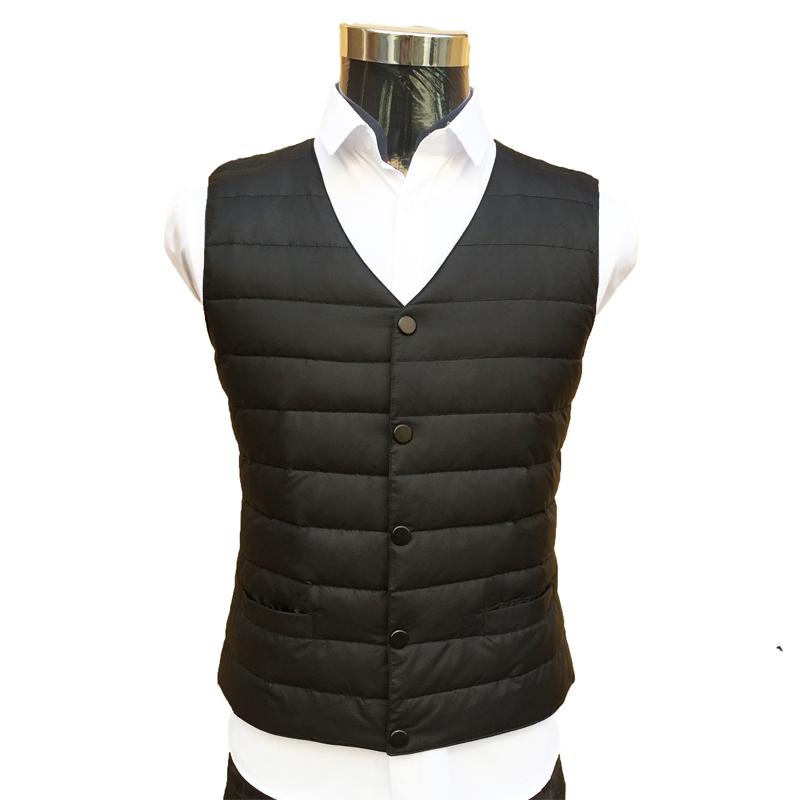 Warm down vest for mens middle aged light V-neck suit extra large waistcoat slim Korean business Plush