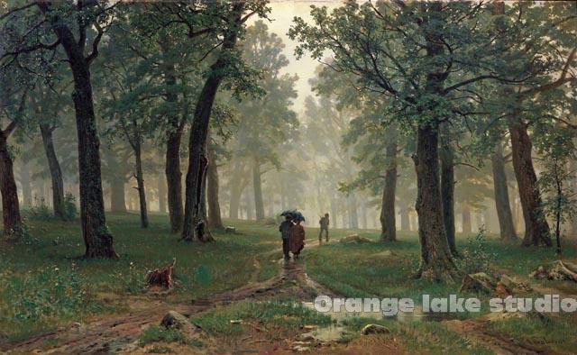 芯特列恰科夫美术博物馆藏布画林中雨滴油画橡树林中的雨滴