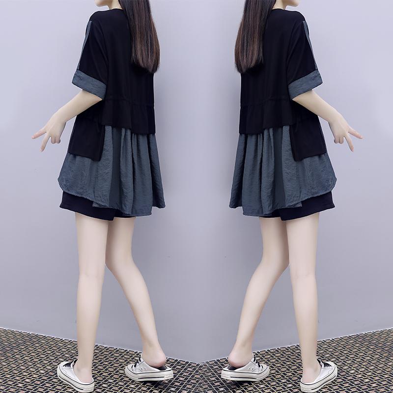時尚休閑短褲套裝女夏2020新款洋氣歐貨潮歐洲站氣質遮肚子兩件套